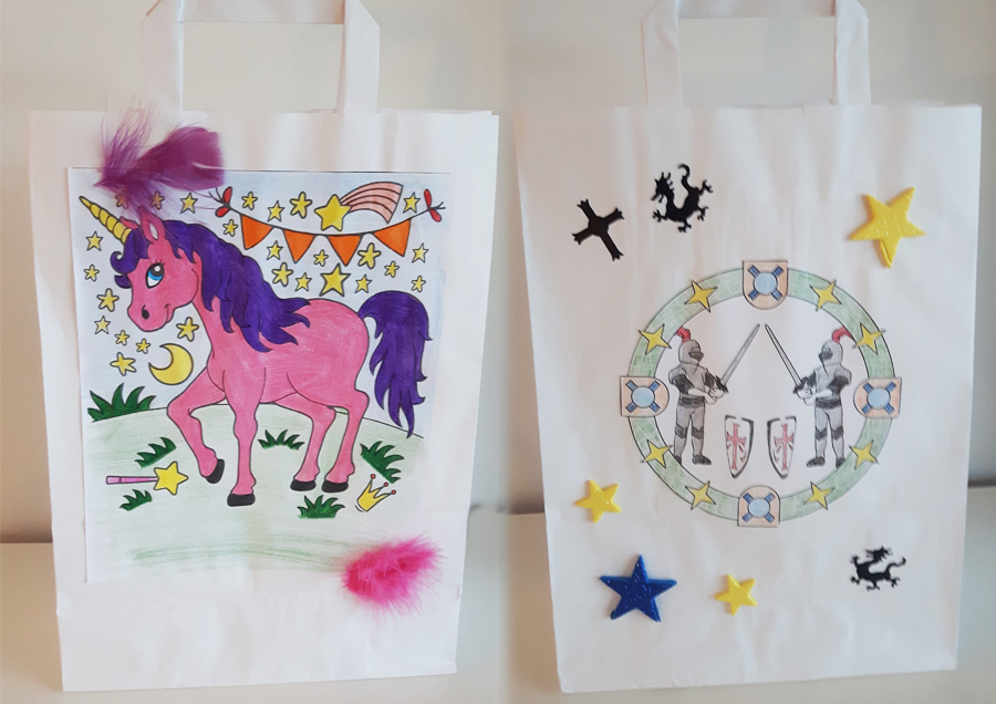 Steffis-Hits-for-Kids_Galerie_Basteln_Papiertüten_Einhorn_Ritter